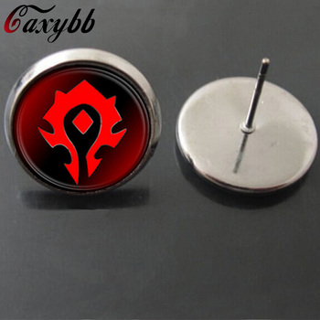 Red Hearthstone Glass Stud earring charm WoW World of Warcraft Earrings for women Christmas gift earring movie jewelry E141