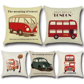 Printed Cartoon Car Pillow Case on the Sofa Cushion for Leaning on Home Sofa Hotel Patterned Cushion Cover Home Car Decorative