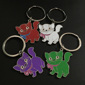 Cat Keychain Cute Cartoon Animals Love Dog Friend Key Chain Ring Cover Holder Brand Women Hanbag Bag Charm Llavero Sleutelhanger