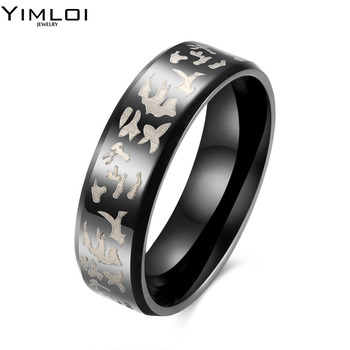 8mm Black Men Ring Titanium Carbide Men's Jewelry Wedding Bands Classic Boyfriend Gift TGR086