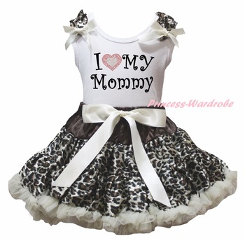 White Cotton Shirt Leopard Skirt Girl Outfit Set Dress Mother's Day Valentine Costume 1-8y LKPO0018