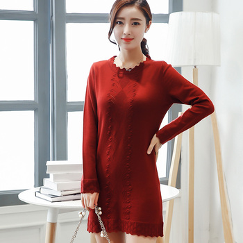 2017 new hot autumn and winter women's wear warm fashion cashmere knit sweater warm flowers decorative cashmere knitwear
